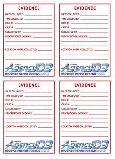 Evidence stickers - postcard size sunday school, birthday idea, bibl fact, postcard size, d3 vbs, vbs 2014, agenc d3, vbs idea