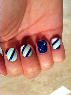 Mint Green & Blue Diagonal Stripe Nail Wraps w/ Blue Anchors accent nail by Jamberry Nails.     Only available until Feb 28, 2013!