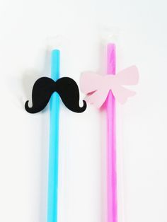 Gender Reveal Mustache and Bow Party Set of 40. $10.00, via Etsy.