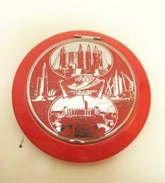 Vintage Chicago World's Fair 1933 Century of Progress Red Plastic Compact