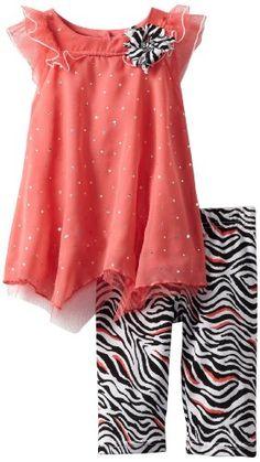 Amazon.com: Little Lass Baby-Girls Newborn 2 Piece Capri Set with Dots and Zebra Prints: Clothing