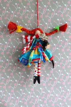 Pipi Longstocking Clothespin Doll by Hoopdeeloo on Etsy, $15.00