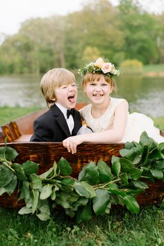 flower girl and ring bearer, photo by L. Hewitt Photography http://ruffledblog.com/19th-century-stone-house-inspiration #weddingideas #flowergirl #ringbearer