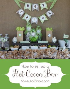 Looking for an awesome holiday party idea? Here's some tips for setting up an adorable Hot Cocoa Bar from SomewhatSimple!
