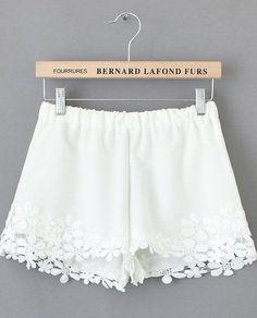 White Lace Floral Crochet Shorts