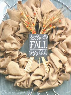 Easy Fall Wreath Idea that could easily be changed up for different seasons. // cleanandscentsible.com