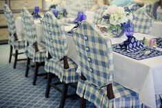 Slipcovers...so pretty dining rooms, chair covers, button, blue, dining chairs, chair backs, buffalo check, desk chairs, dining room chairs