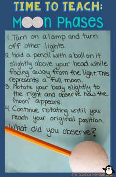 7 Ideas to Teach Students about Moon Phases: Model with a Lamp and Styrofoam Ball on a Pencil