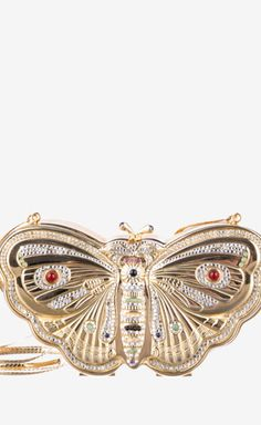 Judith Leiber Butterfly Minaudiere With Crystals Clutch