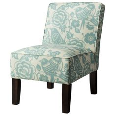 Armless Upholstered Accent Slipper Chair - Blue Floral