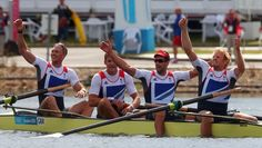 Sitting on top of the world: Alex Gregory, Pete Reed, Tom James and Andrew Triggs Hodge celebrate gold medal glory in the men's coxless fours at Eton Dorney on Saturday