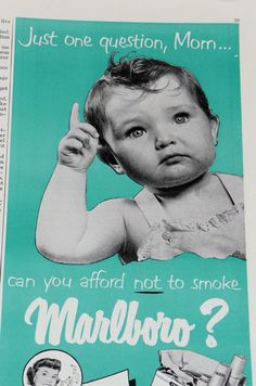 vintage ads 1950s | Vintage Marlboro Ad with Baby 1950s by PaperMasher on Etsy