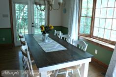 Tutorial for building a farmhouse table that seats 8 people for less than $300!