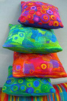 rainbow pillow, scissor studio, color combos, felt cushion, candies, bright pillow, silk felt, felt pillow, blog