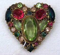 Jeweled Heart Brooch