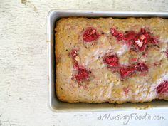 Raspberry Oatmeal Banana Bread via @amusingfoodie/ // #banana #raspberry #oatmeal #bananabread