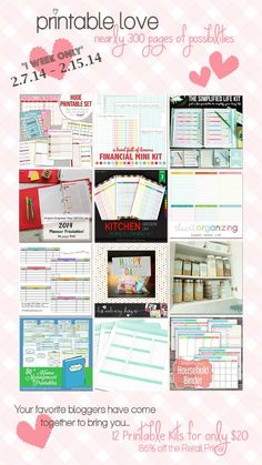 Organizing, Cleaning and Home Management Printables: over 300 pages to get and keep you organized