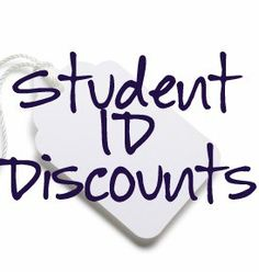 Student ID discounts. A list of stores that will give you a discount for being a student! At least we get some perks of being in debt. Ha!