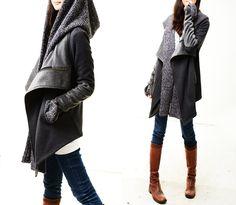 Tuareg - thick cotton fleece jacket and scarf set (Y1228). $78.00, via Etsy.
