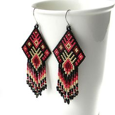 Ethnic style seed bead earrings   sterling silver by Anabel27shop