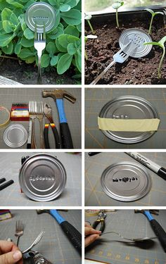 recycled garden, fork, craft, plant markers, garden markers kids