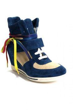 Blue / Beige Suede Platform Sneakers by Donna Piu
