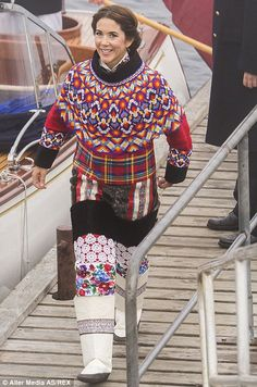 Keeping warm: Princess Mary wraps up as she arrives in the Danish province of Greenland, August 2014.