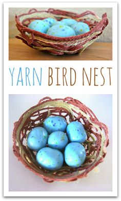 Yarn bird nest craft for kids. Awesome spring craft for kids.
