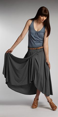 #Organic cotton skirt and organic cotton long sheer tank. Fair trade fashion from INDIGENOUS.