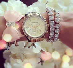 woman fashion, arm party, style, michael kors watch, bows, accessories, diamond bracelets, jewelri, arm candies