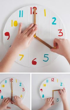 Have them make clocks, then call out a time and have them show me on their clocks what that time looks like.