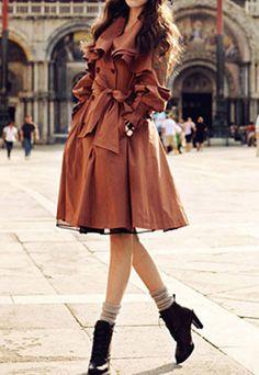OL Style Elegant Ruffle Brown Coat//