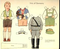 Dolls of Many Lands paper doll. Eric of Germany