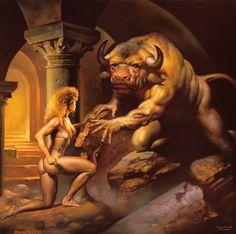 mythic creatur, masquerade ball, bori vallejo, minotaur, greek mytholog, fantast art, fantasi art, boris vallejo, art pictures