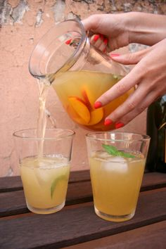 the perfect summer sangria: prosecco, peach juice, nectarines, basil and rum. cheers! #drink #summer