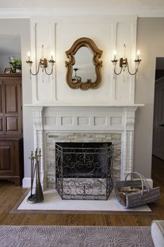 Salvaged fireplace mantle - Traditional - Living room - Images by Embellish Interiors | Wayfair