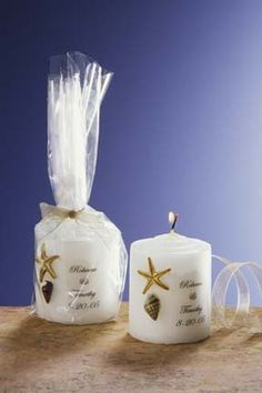 Sea Shell Wedding Candle Favor