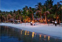 Beach dinner setting in Cambodia