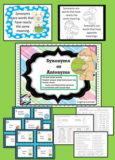Easter themed task cards and worksheets for synonym and antonym practice
