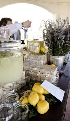 Lemonade in mason jars- lavender centerpiece definately need a lemonade stand at my wedding!