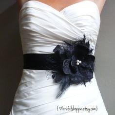 Black Lace Wedding Bridal Sash