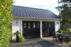 Dream Garage reveal - black metal roof, Cape Cod Pumpkin Lights, Original Vintage Black Sliding Garage Door