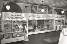 Supermarket dairy case circa 1950. You'll get change back from your half-dollar if you purchase a dozen eggs.