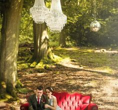 Pocketful of Dreams, Wedding planners, wedding planning, matt parry photography, Red velvet furniture, chandeliers in trees, tom Dixon Lights, outdoor wedding, woodland wedding, festival wedding