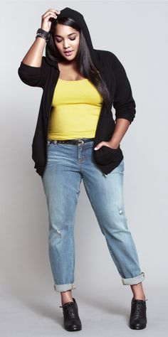 Electric yellow top with light wash jeans, a hoodie & booties. LOVE. #ShopByOutfit