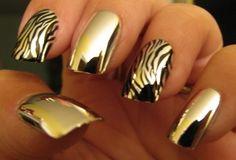 Black + Gold + Shine gold nails, nail polish, nail designs, manicur, nail arts, animal design, zebra nails, animal prints, color nails