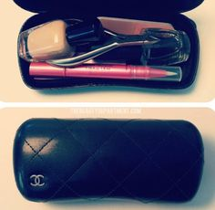 use a spare sunglasses case as pouch for makeup inside your purse #organizedbag #newuseforoldthings