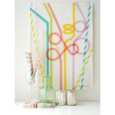 Linen-cotton blend party straw tea towel. How fun is this!