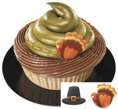 Turkey and Pilgrim Hat Edible Cupcake Toppers