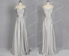 cap sleeve prom dress silver prom dresses long prom by sofitdress, $129.00
